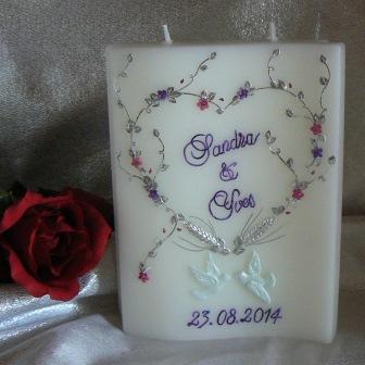 Hochzeitskerze Blumenherz