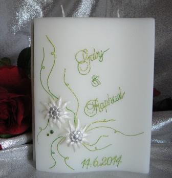Hochzeitskerze Edelweiss klein, Ranken