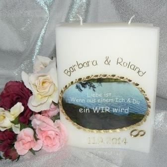 Hochzeitskerze Fotodruck Oval & Ringe