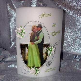 Hochzeitskerze Fotodruck Oval mit Rosen