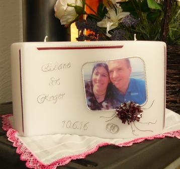 Hochzeitskerze Fotodruck rechteckig Rosen