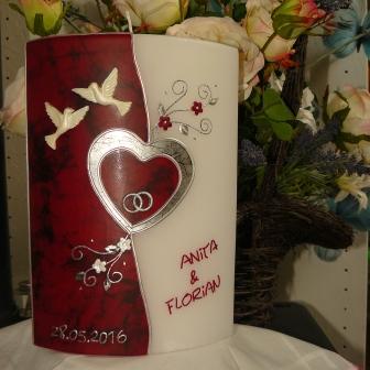 Hochzeitskerze Herzli Tauben Ringe