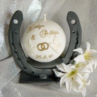 Hochzeitskerze Tauben Ringe