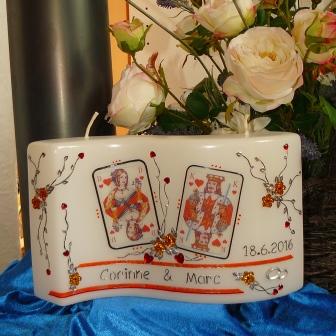 Hochzeitskerze Spezial Poker & Strassblüten