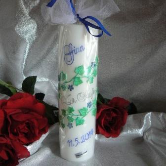Taufkerze Efeu Blüten