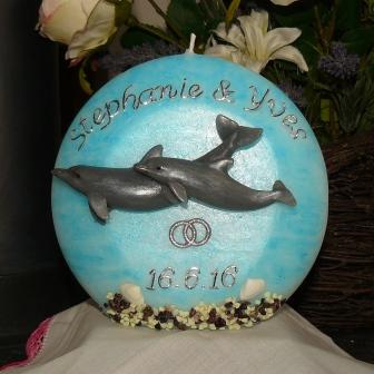 Hochzeitskerze Doppeldelfin