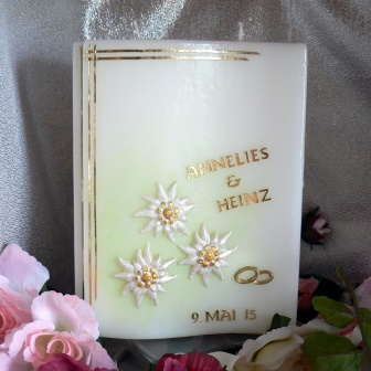 Hochzeitskerze Edelweiss gold