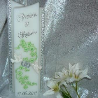 Hochzeitskerze Efeu Tauben & Ringe