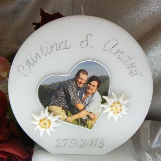 Hochzeitskerze Fotodruck Herz mit Edelweiss