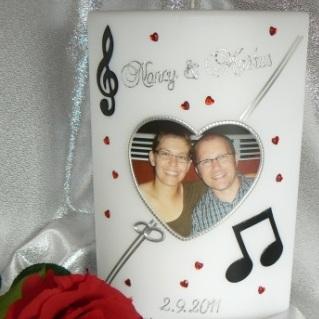 Hochzeitskerze Fotodruck Herz mit Noten