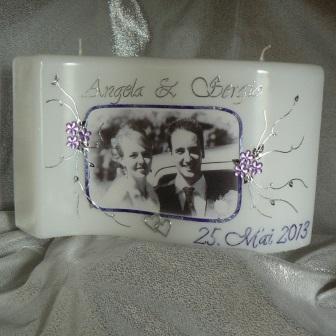 Hochzeitskerze Fotodruck Strassblüten