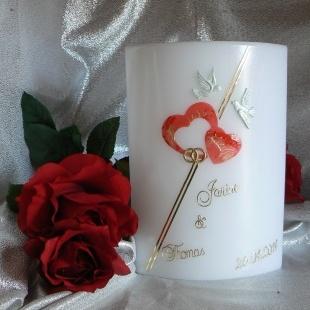 Hochzeitskerze Herzli Tauben Ringli