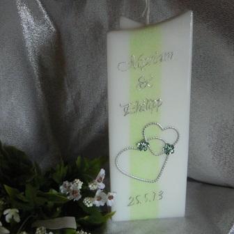 Hochzeitskerze Perlbandherzen