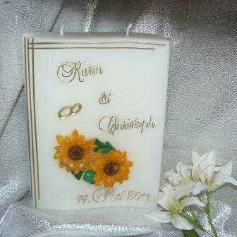 Hochzeitskerze Sonnenblumen