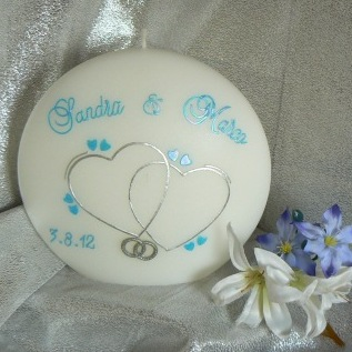 Hochzeitskerze feine Herzen & Ringe