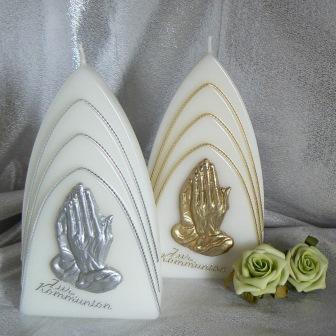 Kommunionskerze Betende Hände
