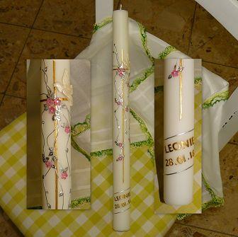 Taufkerze Kreuz Taube Blüemli